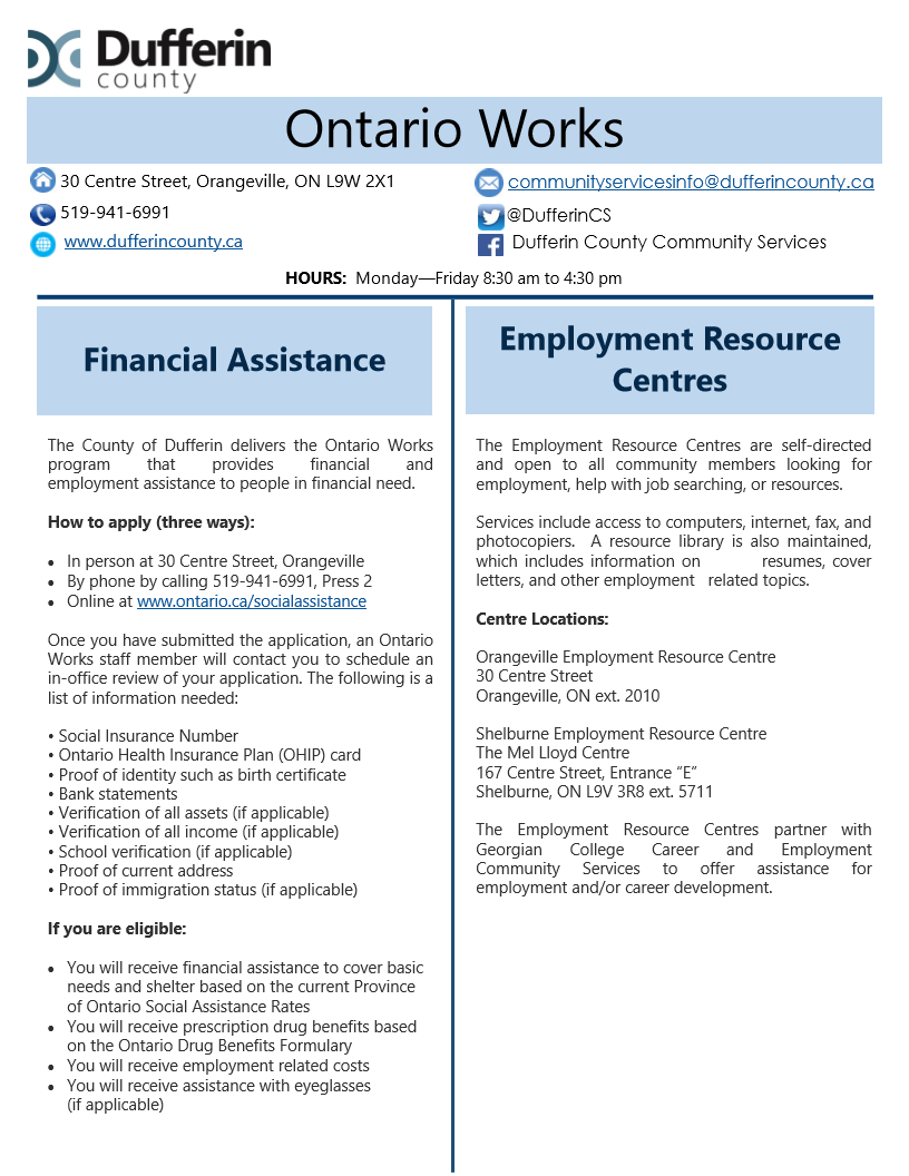 Ontario Works brochure, page 1