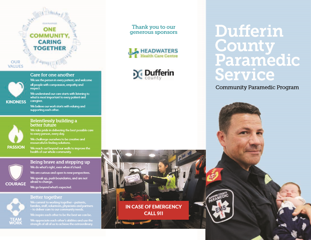 Dufferin County Paramedic Service brochure page 1