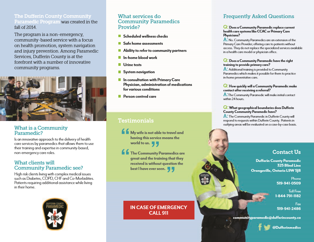 Dufferin County Paramedic Service brochure page 2